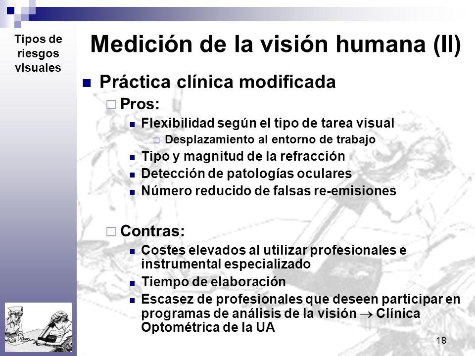 18 Medición de la visión humana (II) Práctica clínica modificada Pros: Flexibilidad según el tipo de tarea visual Desplazamiento al entorno de trabajo
