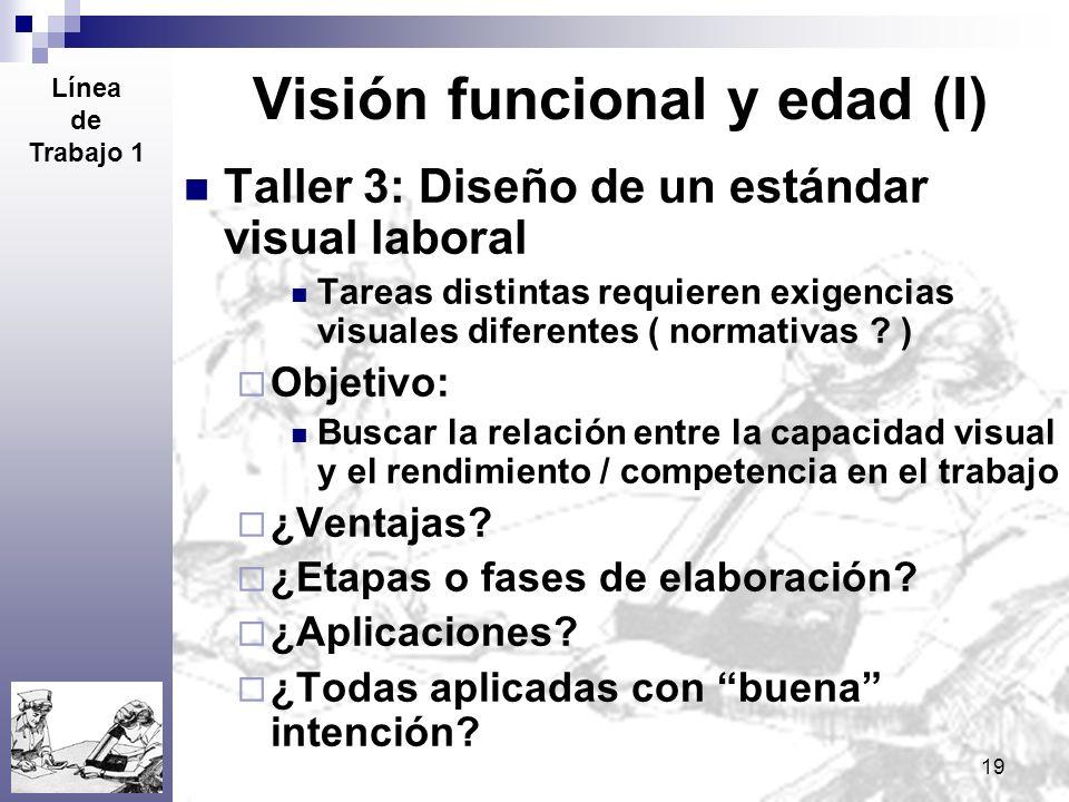 19 Visión funcional y edad (I) Taller 3: Diseño de un estándar visual laboral Tareas distintas requieren exigencias visuales diferentes ( normativas ?