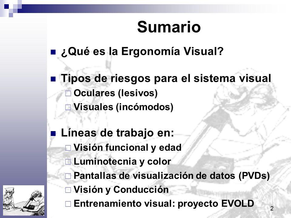 2 Sumario ¿Qué es la Ergonomía Visual? Tipos de riesgos para el sistema visual Oculares (lesivos) Visuales (incómodos) Líneas de trabajo en: Visión fu