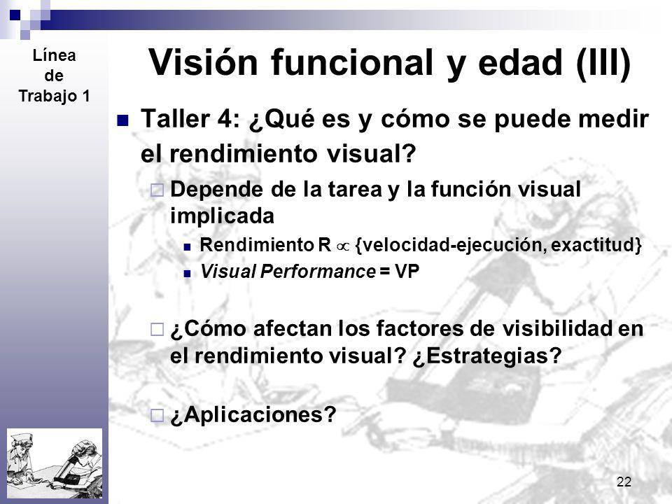 22 Visión funcional y edad (III) Taller 4: ¿Qué es y cómo se puede medir el rendimiento visual? Depende de la tarea y la función visual implicada Rend