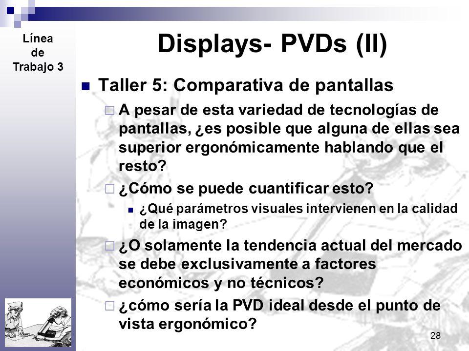 28 Displays- PVDs (II) Taller 5: Comparativa de pantallas A pesar de esta variedad de tecnologías de pantallas, ¿es posible que alguna de ellas sea su