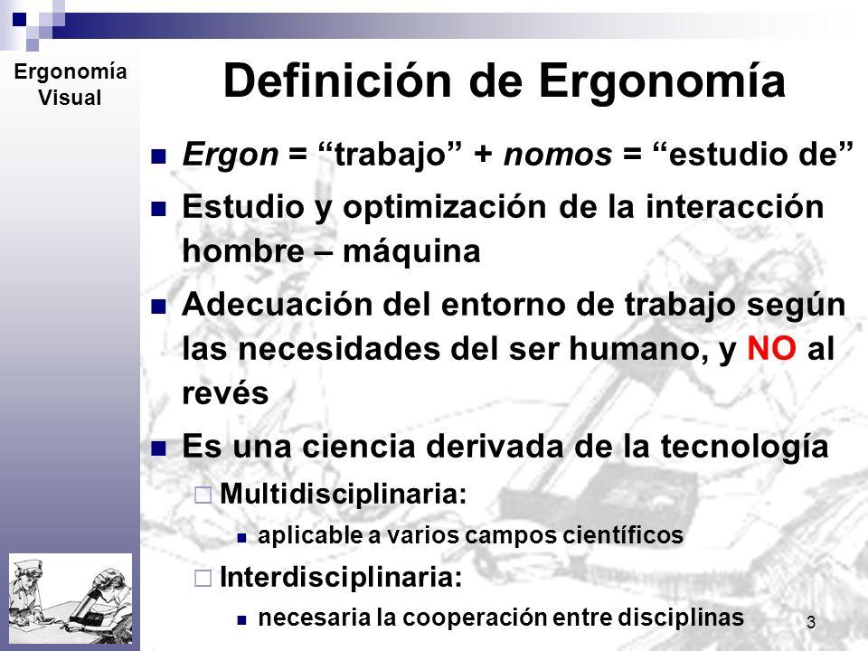 3 Definición de Ergonomía Ergon = trabajo + nomos = estudio de Estudio y optimización de la interacción hombre – máquina Adecuación del entorno de tra