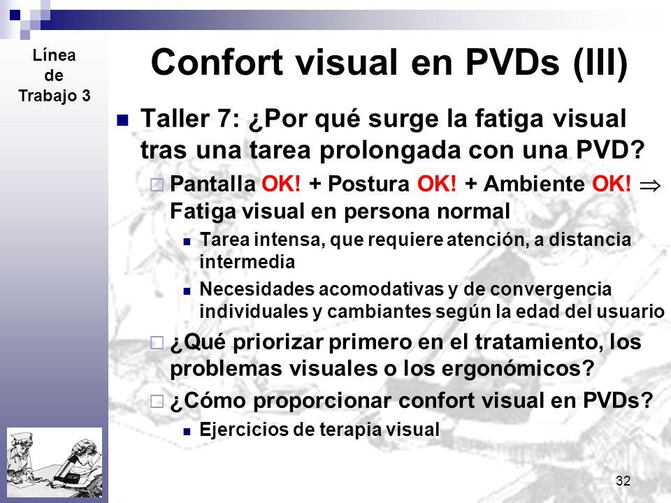 32 Confort visual en PVDs (III) Taller 7: ¿Por qué surge la fatiga visual tras una tarea prolongada con una PVD? Pantalla OK! + Postura OK! + Ambiente