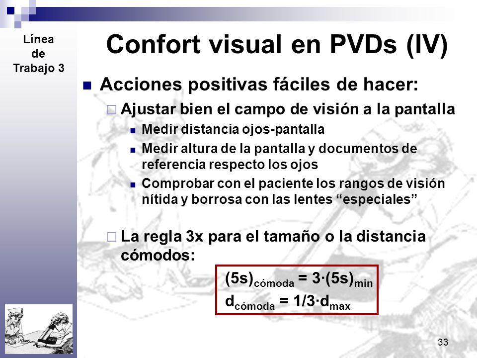 33 Confort visual en PVDs (IV) Acciones positivas fáciles de hacer: Ajustar bien el campo de visión a la pantalla Medir distancia ojos-pantalla Medir
