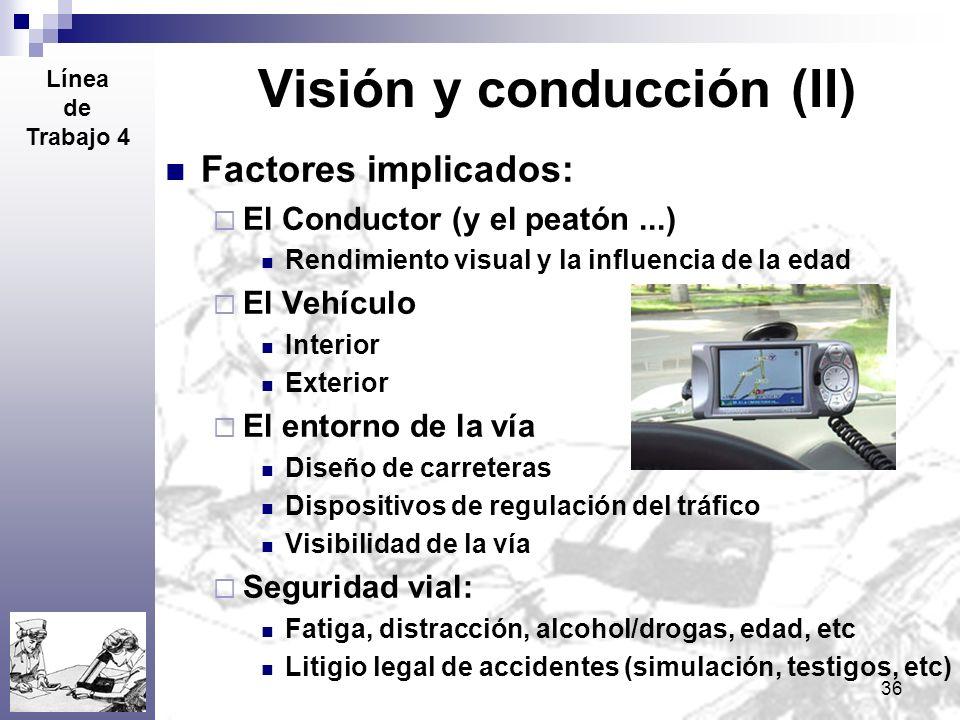 36 Visión y conducción (II) Factores implicados: El Conductor (y el peatón...) Rendimiento visual y la influencia de la edad El Vehículo Interior Exte