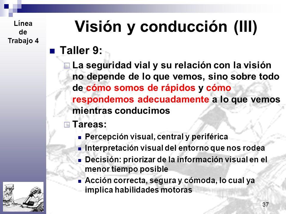 37 Visión y conducción (III) Taller 9: La seguridad vial y su relación con la visión no depende de lo que vemos, sino sobre todo de cómo somos de rápi