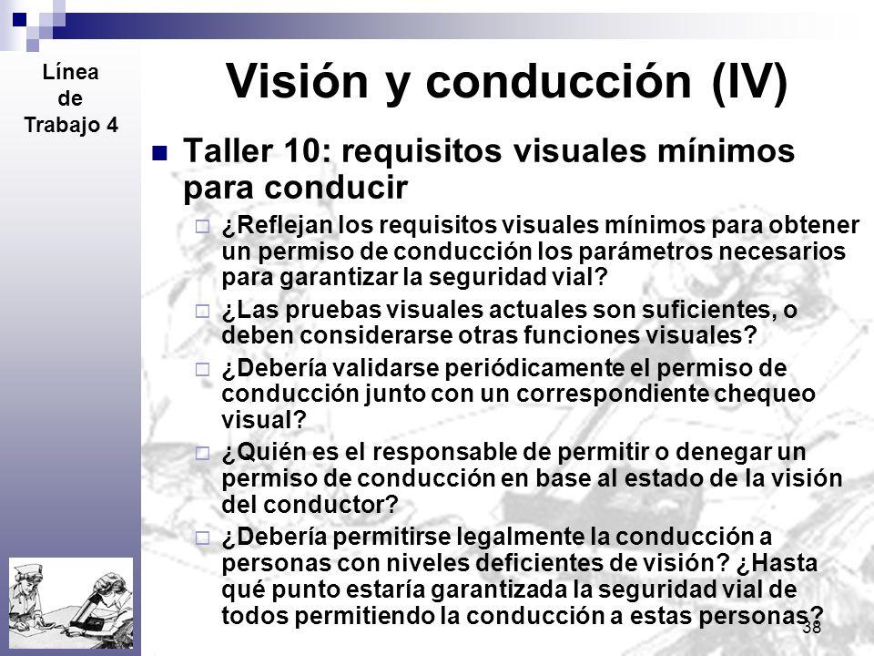 38 Visión y conducción (IV) Taller 10: requisitos visuales mínimos para conducir ¿Reflejan los requisitos visuales mínimos para obtener un permiso de