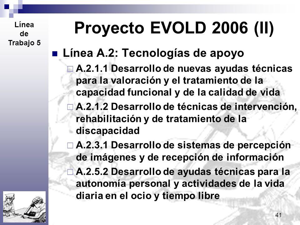 41 Proyecto EVOLD 2006 (II) Línea A.2: Tecnologías de apoyo A.2.1.1 Desarrollo de nuevas ayudas técnicas para la valoración y el tratamiento de la cap