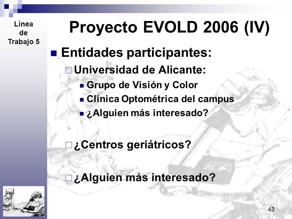 43 Proyecto EVOLD 2006 (IV) Entidades participantes: Universidad de Alicante: Grupo de Visión y Color Clínica Optométrica del campus ¿Alguien más inte