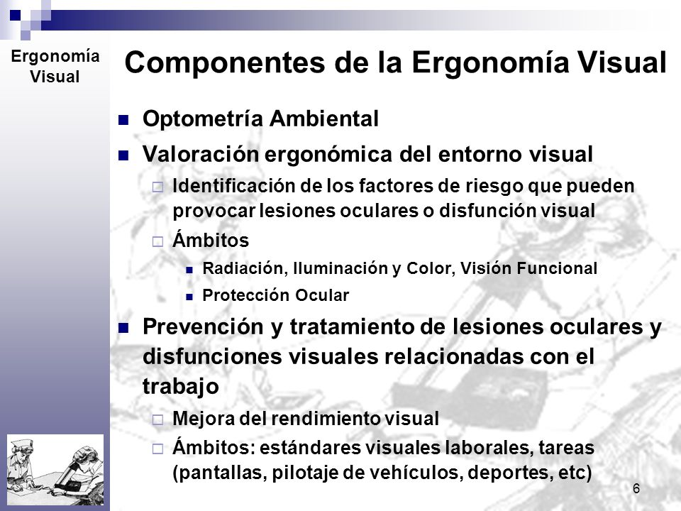 6 Componentes de la Ergonomía Visual Optometría Ambiental + Ocupacional Valoración ergonómica del entorno visual Identificación de los factores de rie
