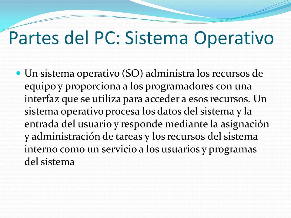 Partes del PC: Sistema Operativo Un sistema operativo (SO) administra los recursos de equipo y proporciona a los programadores con una interfaz que se