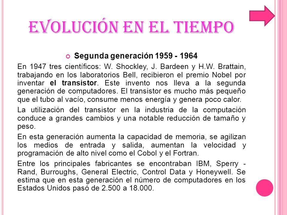 EVOLUCIÓN EN EL TIEMPO Segunda generación 1959 - 1964 En 1947 tres científicos: W. Shockley, J. Bardeen y H.W. Brattain, trabajando en los laboratorio