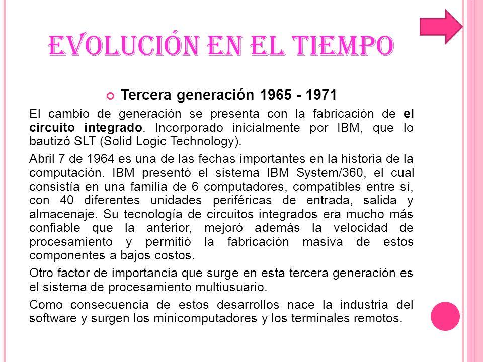 EVOLUCIÓN EN EL TIEMPO Tercera generación 1965 - 1971 El cambio de generación se presenta con la fabricación de el circuito integrado. Incorporado ini