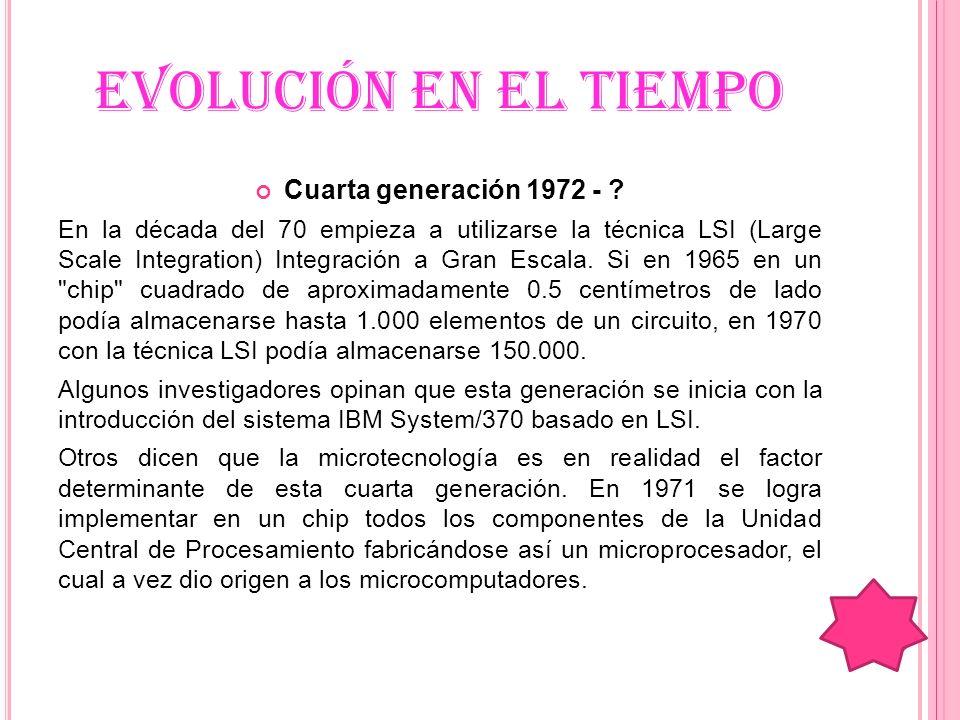 EVOLUCIÓN EN EL TIEMPO Cuarta generación 1972 - ? En la década del 70 empieza a utilizarse la técnica LSI (Large Scale Integration) Integración a Gran