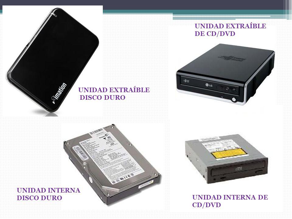 UNIDAD INTERNA DE CD/DVD UNIDAD INTERNA DISCO DURO UNIDAD EXTRAÍBLE DE CD/DVD UNIDAD EXTRAÍBLE DISCO DURO