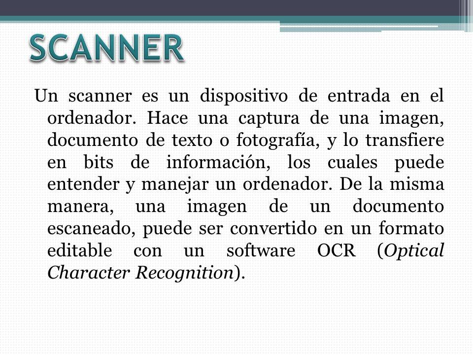 Un scanner es un dispositivo de entrada en el ordenador. Hace una captura de una imagen, documento de texto o fotografía, y lo transfiere en bits de i
