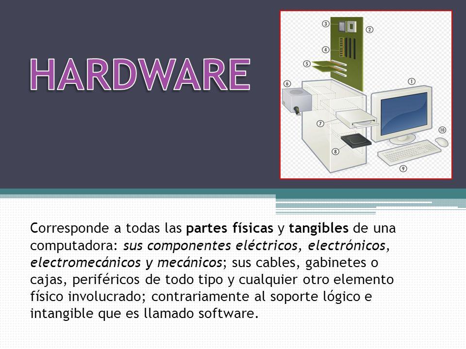 Corresponde a todas las partes físicas y tangibles de una computadora: sus componentes eléctricos, electrónicos, electromecánicos y mecánicos; sus cab