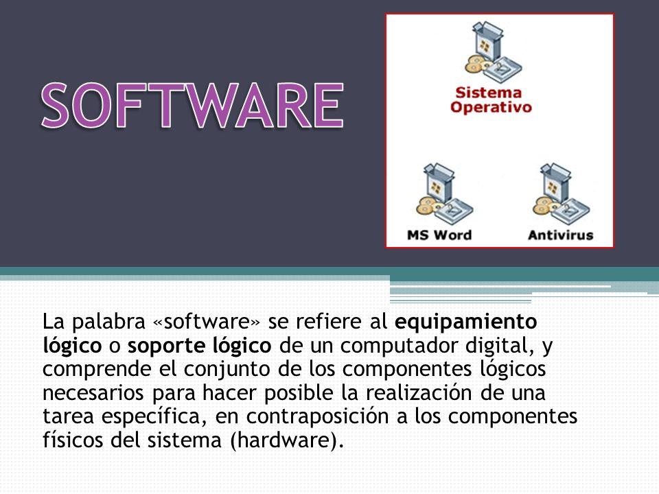 La palabra «software» se refiere al equipamiento lógico o soporte lógico de un computador digital, y comprende el conjunto de los componentes lógicos necesarios para hacer posible la realización de una tarea específica, en contraposición a los componentes físicos del sistema (hardware).