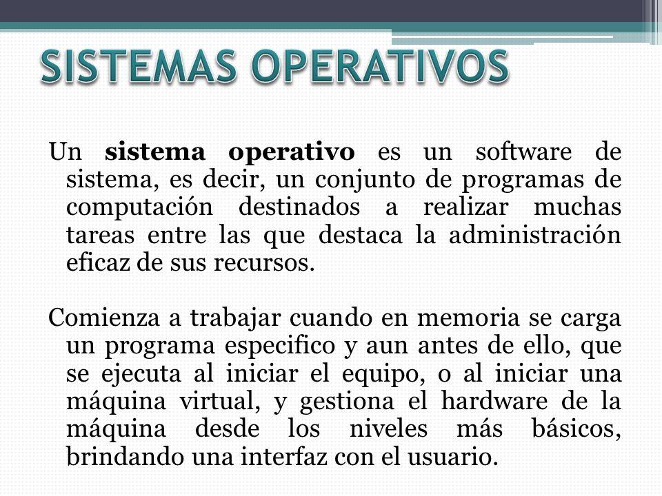 Un sistema operativo es un software de sistema, es decir, un conjunto de programas de computación destinados a realizar muchas tareas entre las que destaca la administración eficaz de sus recursos.