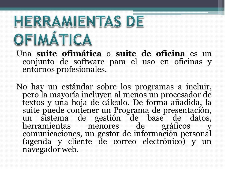 Una suite ofimática o suite de oficina es un conjunto de software para el uso en oficinas y entornos profesionales. No hay un estándar sobre los progr