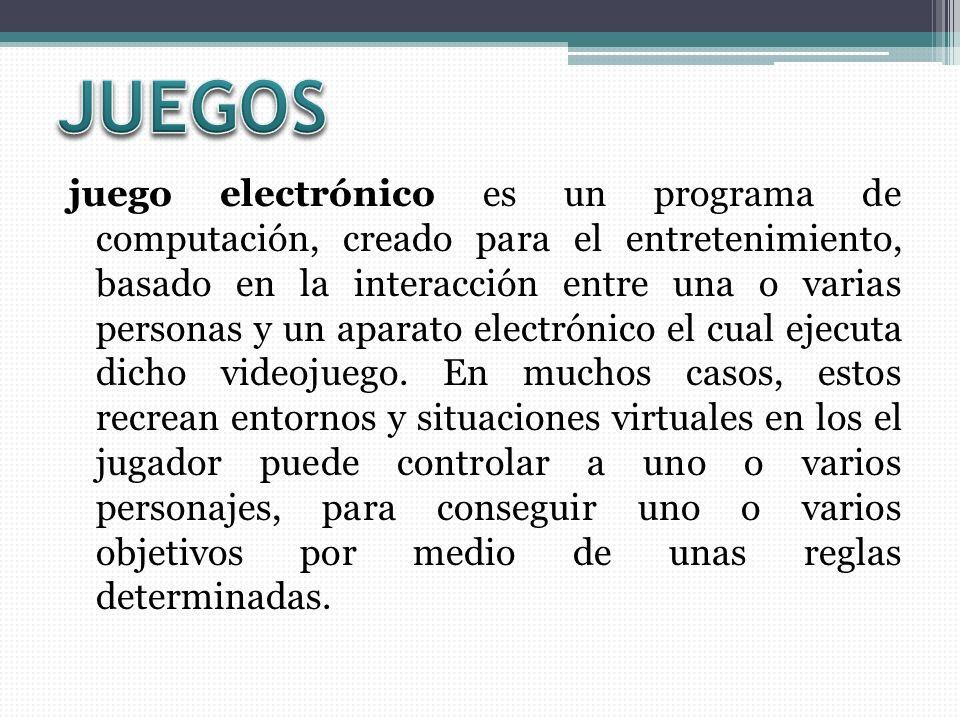 juego electrónico es un programa de computación, creado para el entretenimiento, basado en la interacción entre una o varias personas y un aparato electrónico el cual ejecuta dicho videojuego.