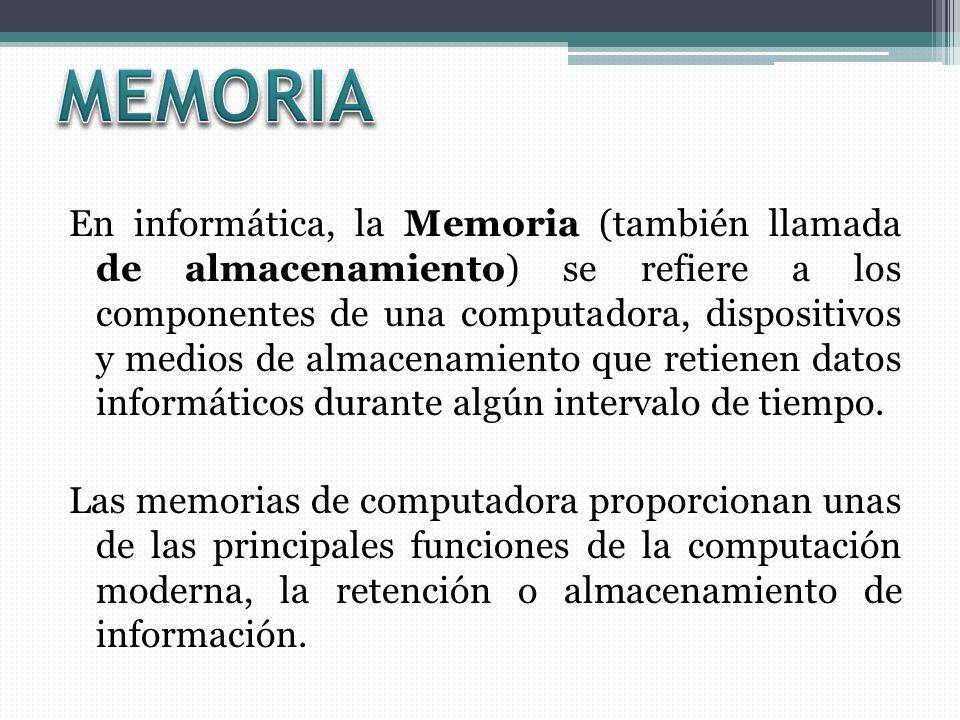En informática, la Memoria (también llamada de almacenamiento) se refiere a los componentes de una computadora, dispositivos y medios de almacenamiento que retienen datos informáticos durante algún intervalo de tiempo.
