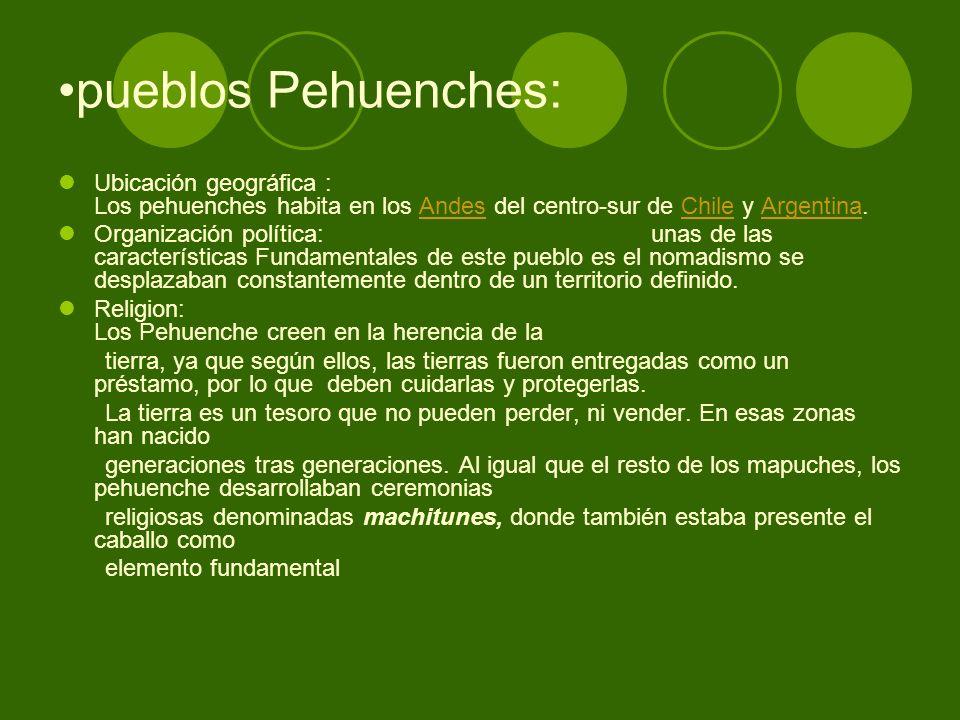 pueblos Pehuenches: Ubicación geográfica : Los pehuenches habita en los Andes del centro-sur de Chile y Argentina.AndesChileArgentina Organización pol