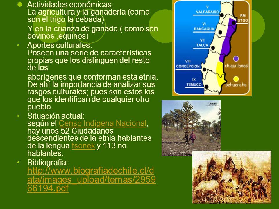 Actividades económicas: La agricultura y la ganadería (como son el trigo la cebada) Y en la crianza de ganado ( como son bovinos,equinos) Aportes cult
