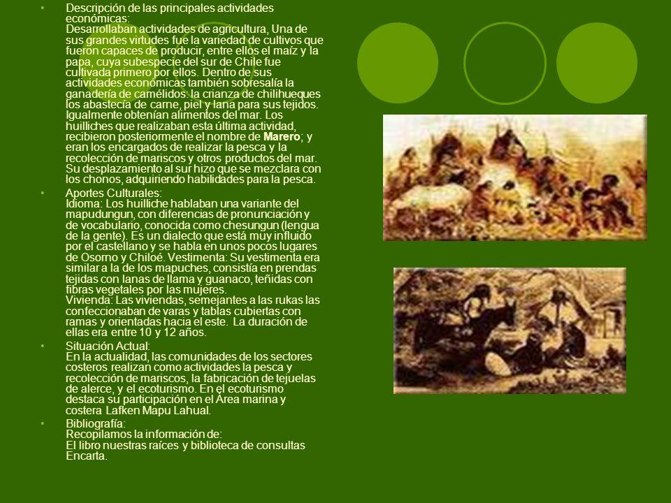 Descripción de las principales actividades económicas: Desarrollaban actividades de agricultura, Una de sus grandes virtudes fue la variedad de cultiv