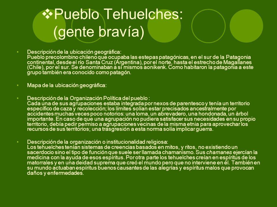Pueblo Tehuelches: (gente bravía) Descripción de la ubicación geográfica: Pueblo precolombino chileno que ocupaba las estepas patagónicas, en el sur d