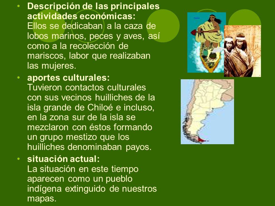 Descripción de las principales actividades económicas: Ellos se dedicaban a la caza de lobos marinos, peces y aves, así como a la recolección de maris