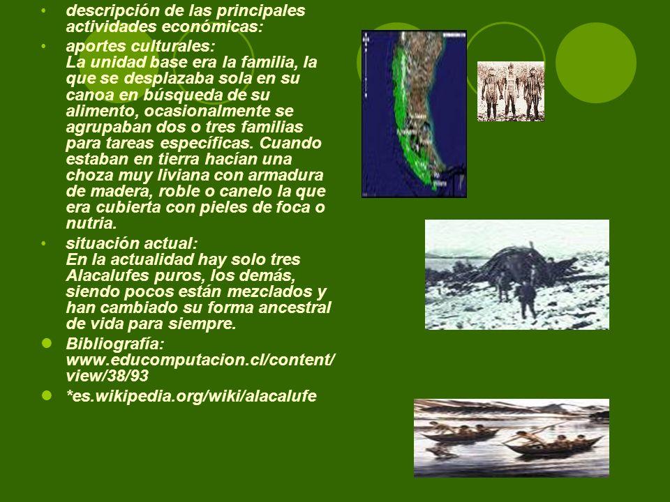 descripción de las principales actividades económicas: aportes culturales: La unidad base era la familia, la que se desplazaba sola en su canoa en bús