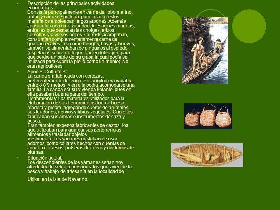 Descripción de las principales actividades económicas: Consistía principalmente en carne del lobo marino, nutria y carne de ballena; para cazar a esto