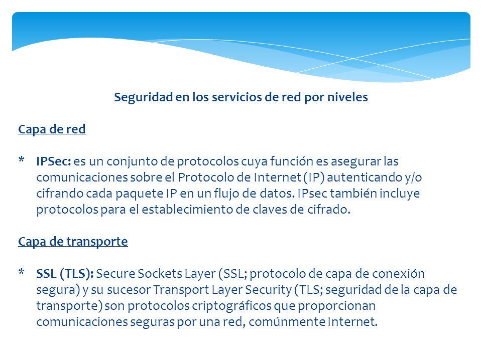 Seguridad en los servicios de red por niveles Capa de red *IPSec: es un conjunto de protocolos cuya función es asegurar las comunicaciones sobre el Pr