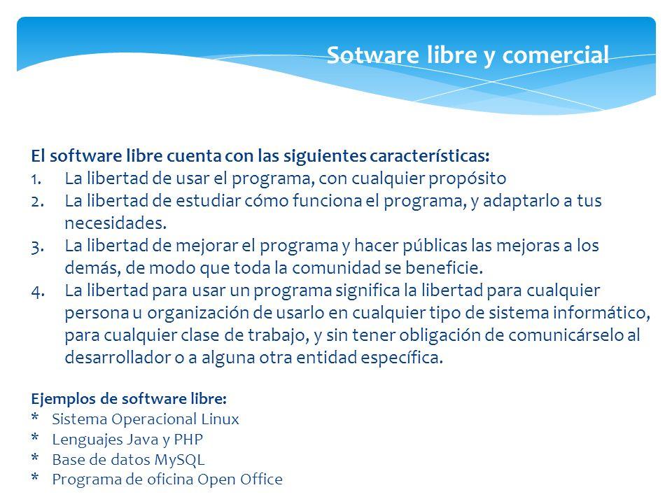 El software libre cuenta con las siguientes características: 1.La libertad de usar el programa, con cualquier propósito 2.La libertad de estudiar cómo