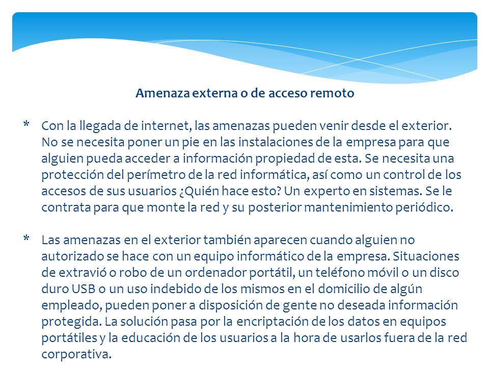 Amenaza externa o de acceso remoto *Con la llegada de internet, las amenazas pueden venir desde el exterior. No se necesita poner un pie en las instal