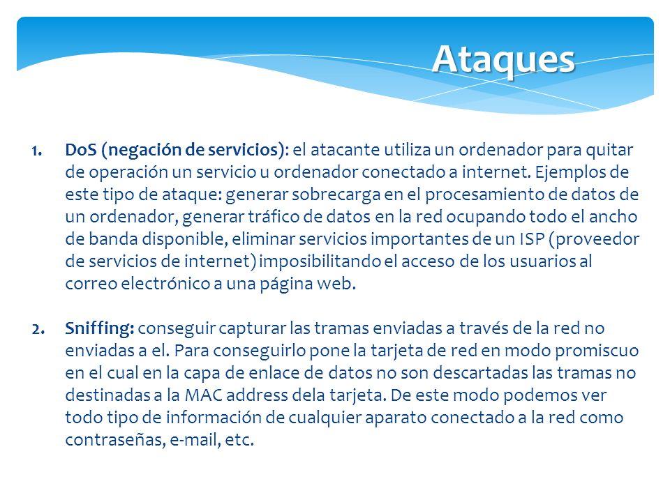 1.DoS (negación de servicios): el atacante utiliza un ordenador para quitar de operación un servicio u ordenador conectado a internet. Ejemplos de est
