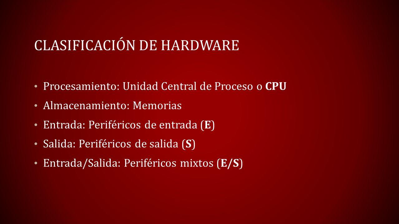 CLASIFICACIÓN DE HARDWARE Procesamiento: Unidad Central de Proceso o CPU Almacenamiento: Memorias Entrada: Periféricos de entrada (E) Salida: Periféri