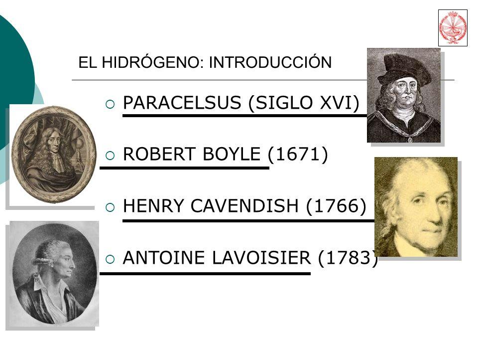PARACELSUS (SIGLO XVI) ROBERT BOYLE (1671) HENRY CAVENDISH (1766) ANTOINE LAVOISIER (1783) EL HIDRÓGENO: INTRODUCCIÓN
