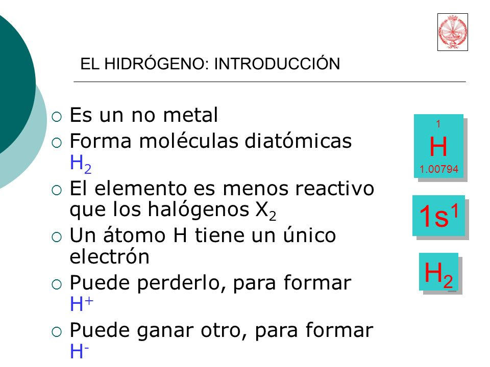 Es un no metal Forma moléculas diatómicas H 2 El elemento es menos reactivo que los halógenos X 2 Un átomo H tiene un único electrón Puede perderlo, para formar H + Puede ganar otro, para formar H - 1 H 1.00794 1 H 1.00794 1s 1 H2H2 H2H2 EL HIDRÓGENO: INTRODUCCIÓN