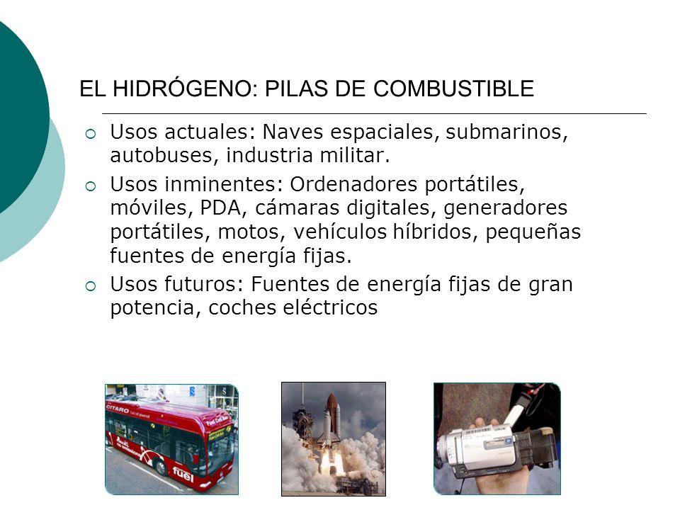 Usos actuales: Naves espaciales, submarinos, autobuses, industria militar.