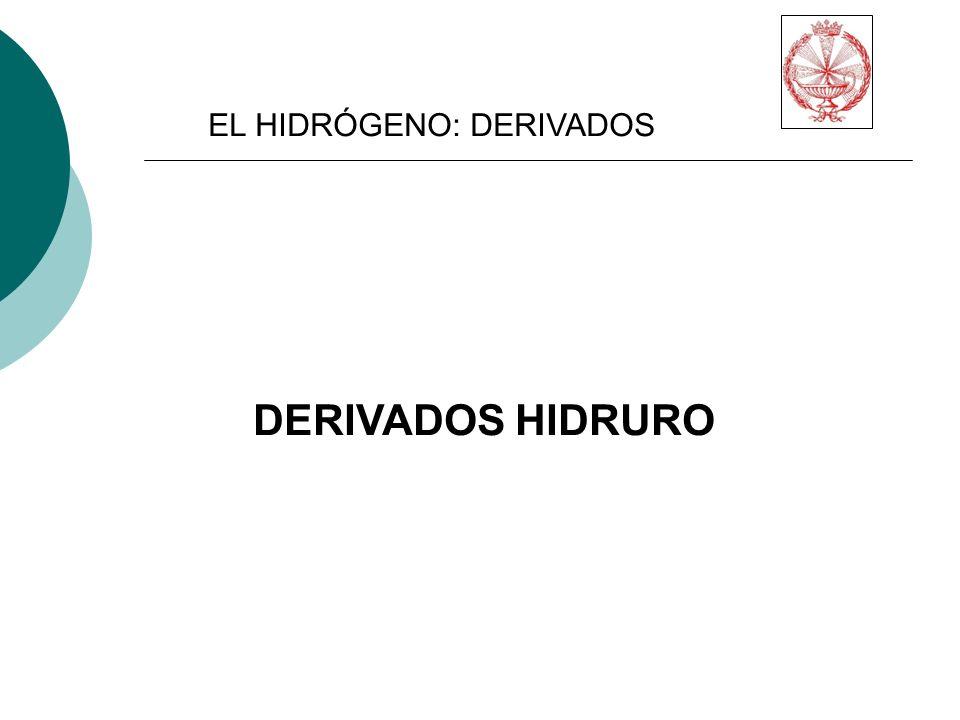 EL HIDRÓGENO: DERIVADOS DERIVADOS HIDRURO