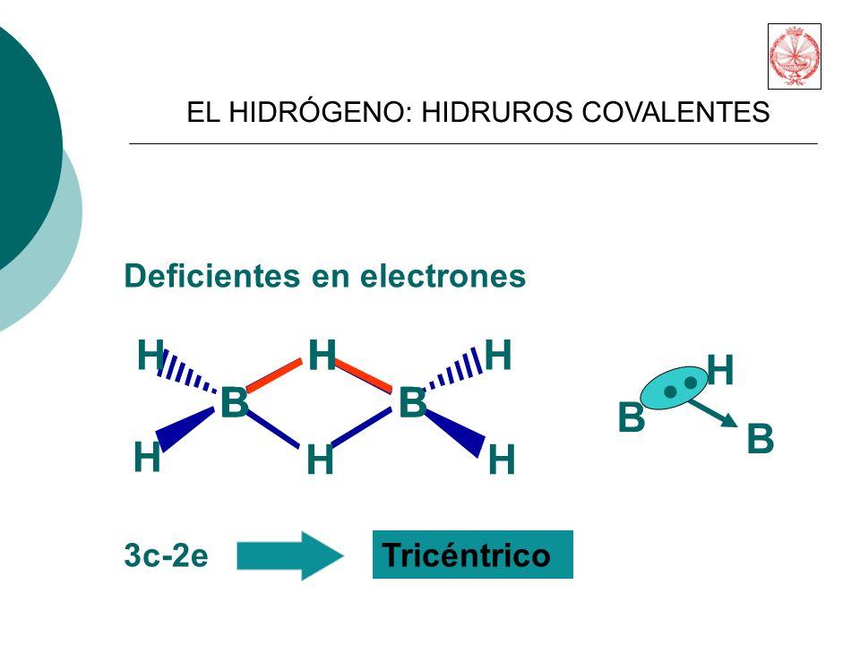 B H H B H HH H Deficientes en electrones BB H 3c-2eTricéntrico B B H..