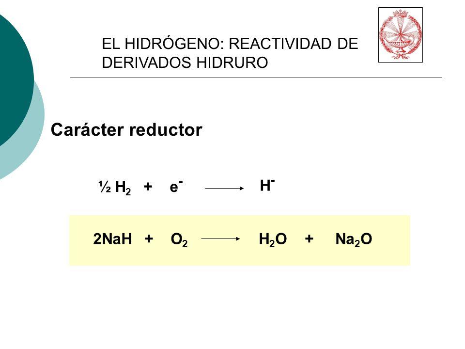 H-H- ½ H 2 + e - Carácter reductor 2NaH + O 2 H 2 O + Na 2 O EL HIDRÓGENO: REACTIVIDAD DE DERIVADOS HIDRURO