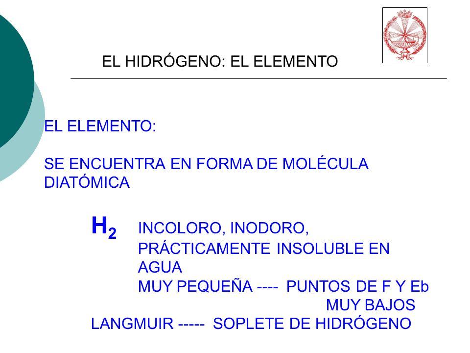 EL HIDRÓGENO: EL ELEMENTO EL ELEMENTO: SE ENCUENTRA EN FORMA DE MOLÉCULA DIATÓMICA H 2 INCOLORO, INODORO, PRÁCTICAMENTE INSOLUBLE EN AGUA MUY PEQUEÑA ---- PUNTOS DE F Y Eb MUY BAJOS LANGMUIR ----- SOPLETE DE HIDRÓGENO