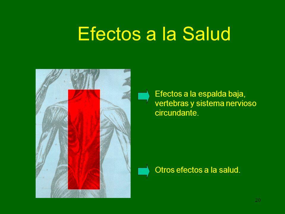 20 Efectos a la Salud Efectos a la espalda baja, vertebras y sistema nervioso circundante.