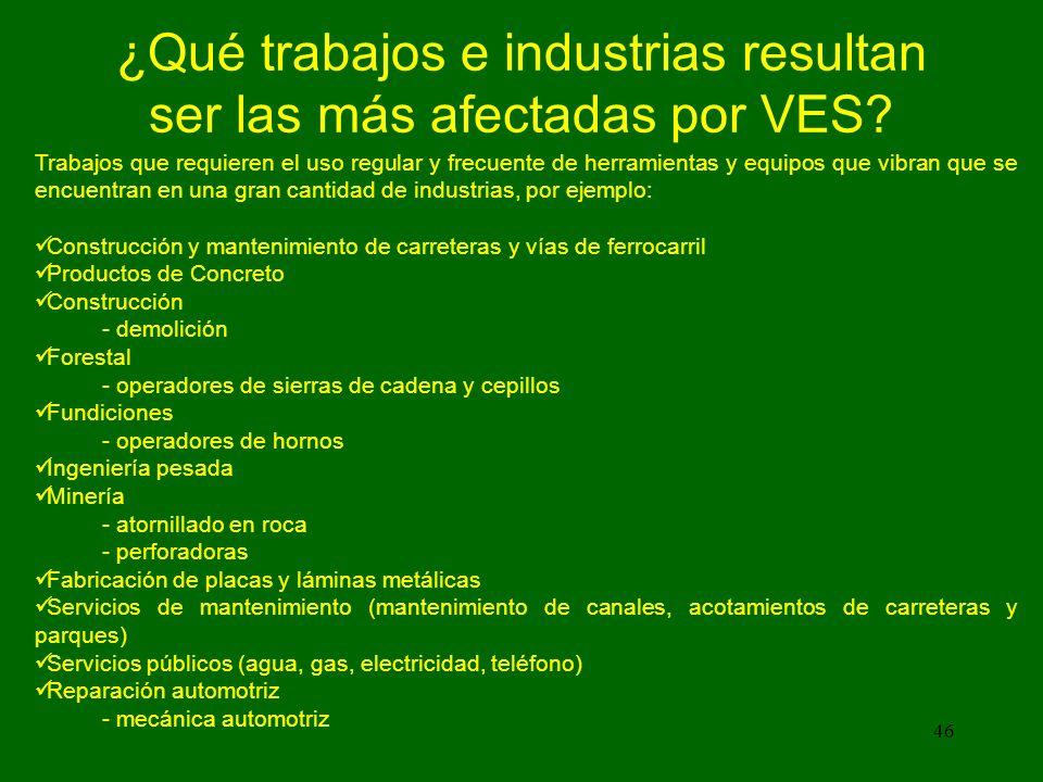 46 ¿Qué trabajos e industrias resultan ser las más afectadas por VES.