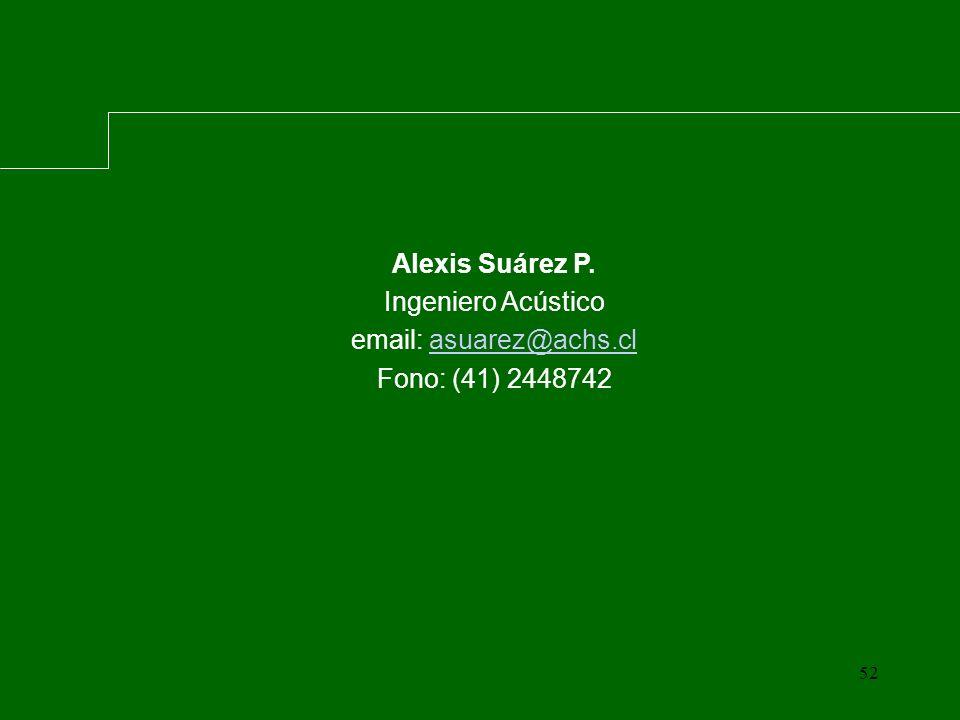 52 Alexis Suárez P. Ingeniero Acústico email: asuarez@achs.clasuarez@achs.cl Fono: (41) 2448742