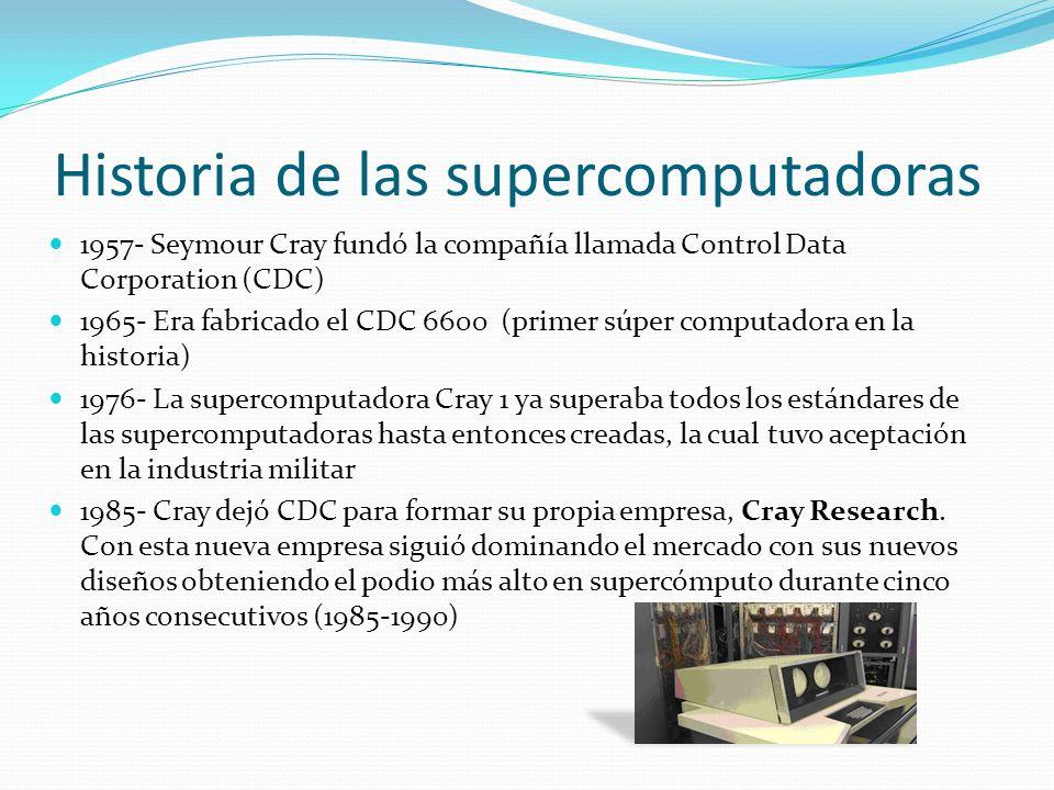 Historia de las supercomputadoras 1957- Seymour Cray fundó la compañía llamada Control Data Corporation (CDC) 1965- Era fabricado el CDC 6600 (primer súper computadora en la historia) 1976- La supercomputadora Cray 1 ya superaba todos los estándares de las supercomputadoras hasta entonces creadas, la cual tuvo aceptación en la industria militar 1985- Cray dejó CDC para formar su propia empresa, Cray Research.