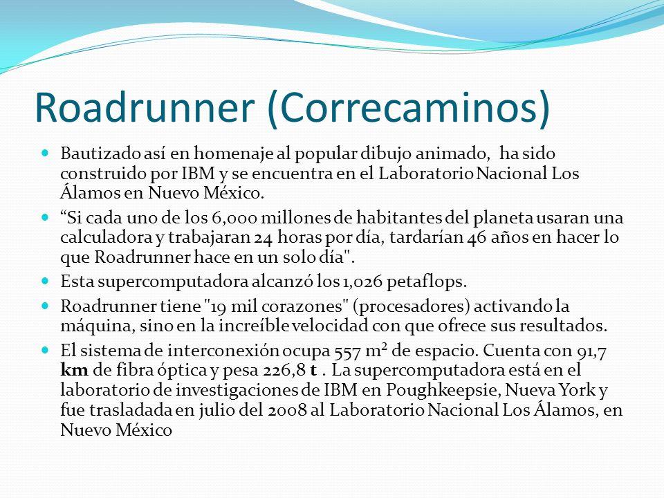 Roadrunner (Correcaminos) Bautizado así en homenaje al popular dibujo animado, ha sido construido por IBM y se encuentra en el Laboratorio Nacional Los Álamos en Nuevo México.